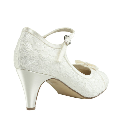 Cupcake ivory, 6cm heel, satin & lace, closed toe wedding shoe - NZ