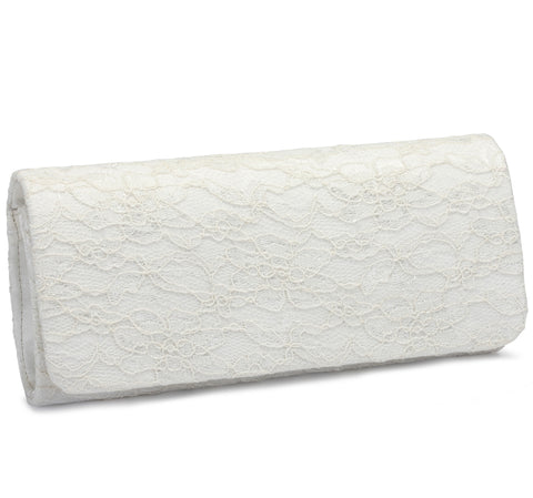 Crimson - Ivory Lace wedding clutch bag - NZ
