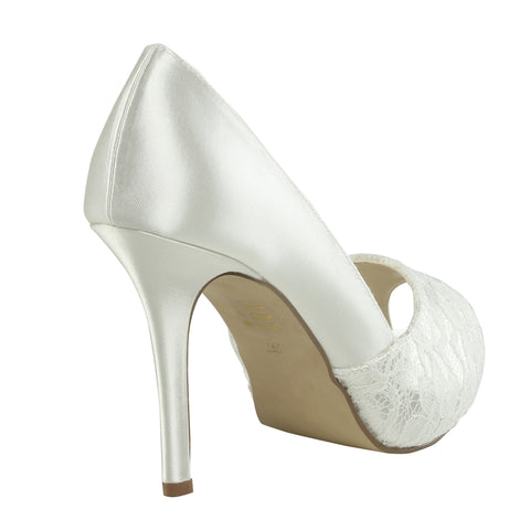 Fancy ivory or white satin & lace, 9.5cm heel, open toe wedding shoe - NZ