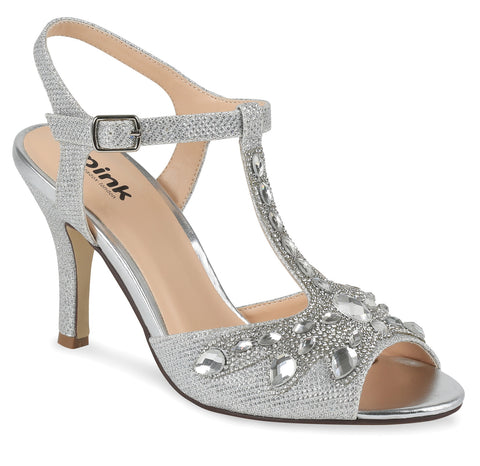 Morgan silver glitter, 7.5cm heel, open toe wedding/evening sandal - NZ