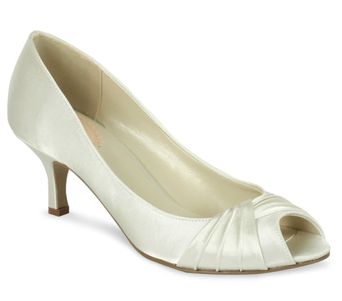 Romantic ivory satin, 5.5cm heel, open toe wedding shoe - NZ