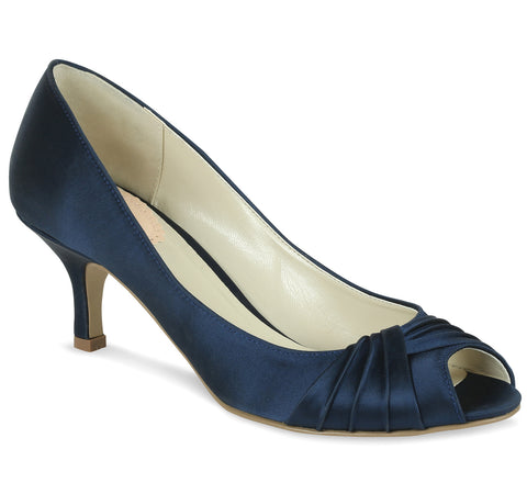 Romantic navy satin, 5.5cm heel, open toe wedding/evening shoe - NZ