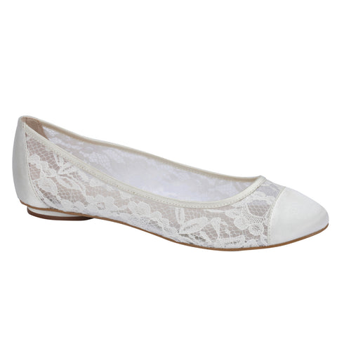 Sweetie ivory lace, flat heel, closed toe wedding shoes - NZ