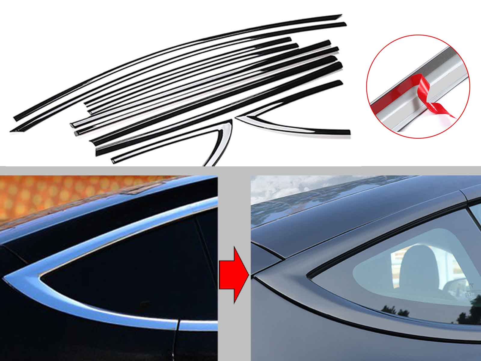 Model 3: Chrome-Delete Kit for Window Frames (ABS plastic shell) - Torque Alliance