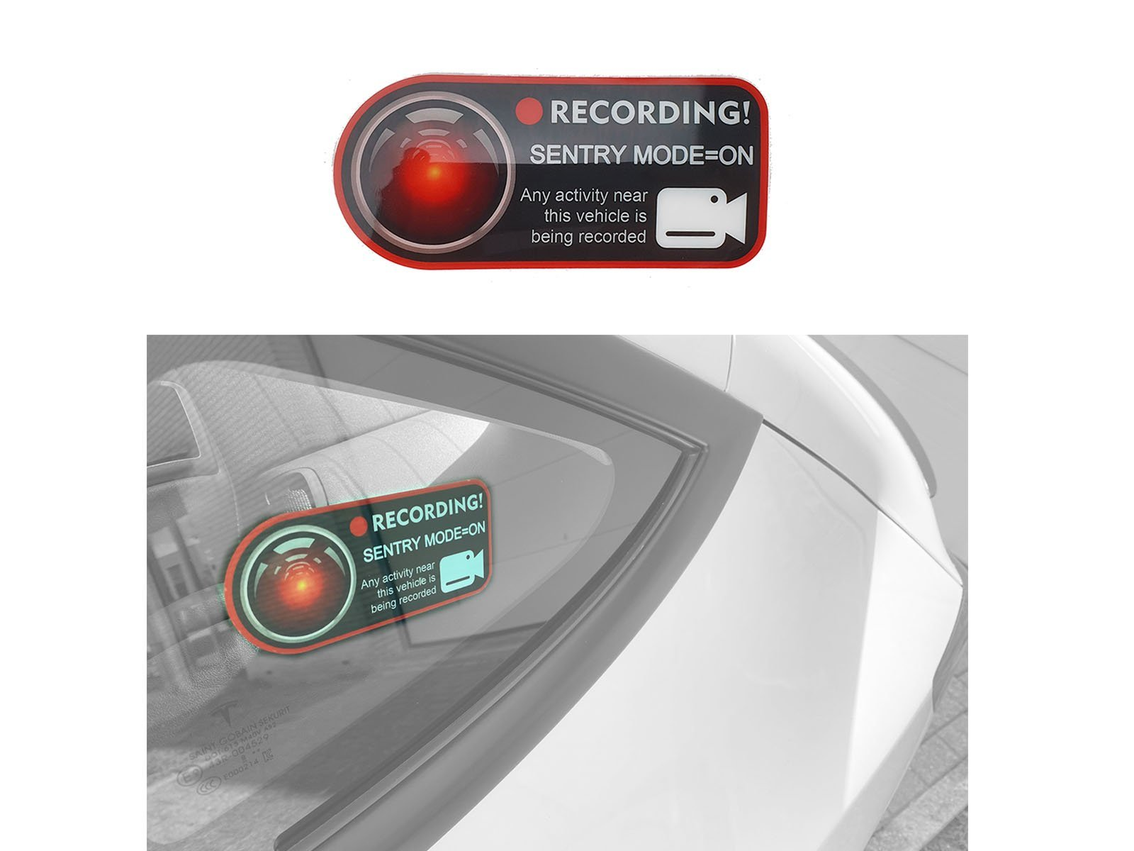 Model 3/S/X/Y: Sentry Mode Warning Sticker x2 - Torque Alliance