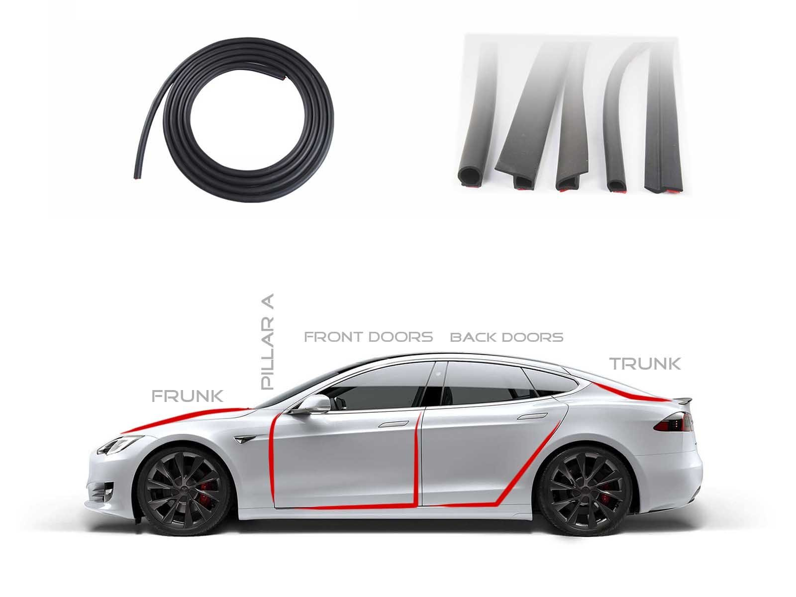 Model S: Rubber Seal Strips Set (4 Doors+Frunk+Trunk) - Torque Alliance
