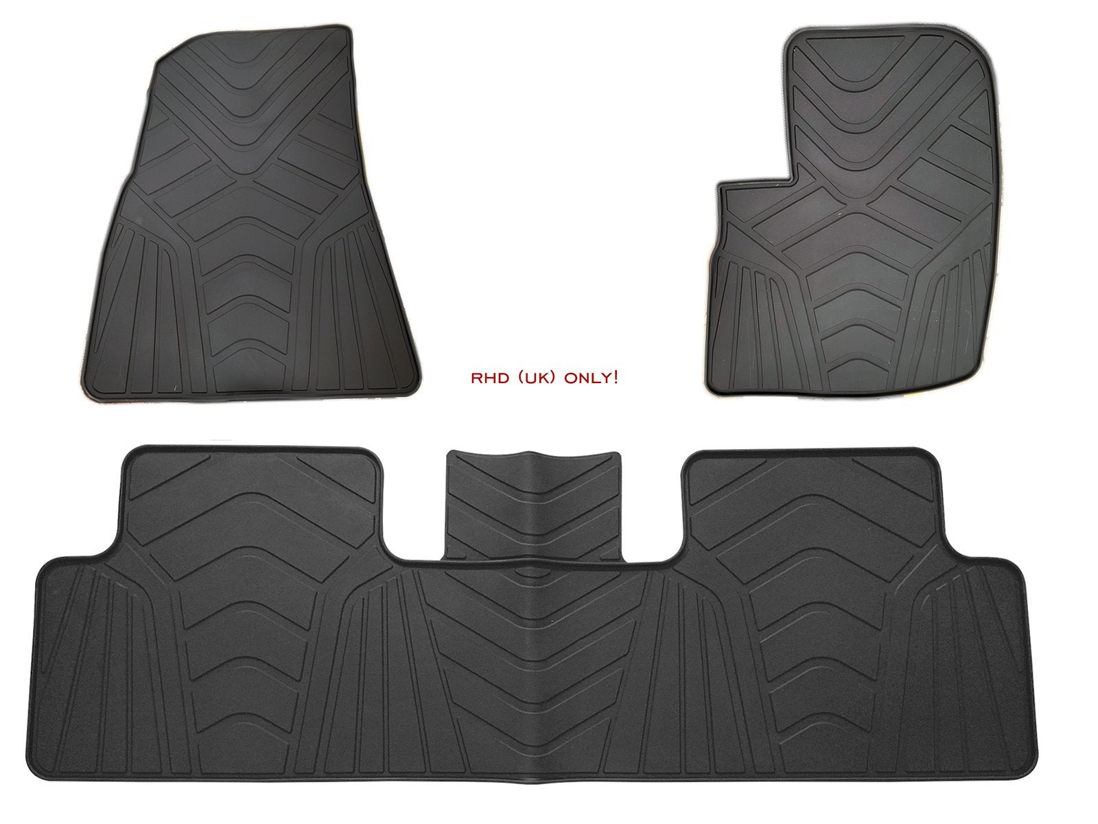 RHD UK only_Model 3: All-weather Interior Floor Mats (3 pcs, Synthetic Latex Rubber) - Torque Alliance