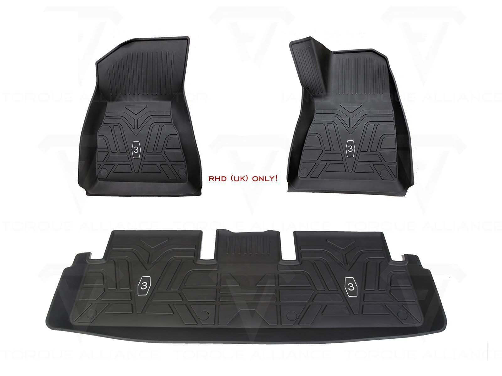 RHD-UK ONLY! Model 3: All-weather Interior Floor Mats (TPE Rubber, 3 Pieces) - Torque Alliance