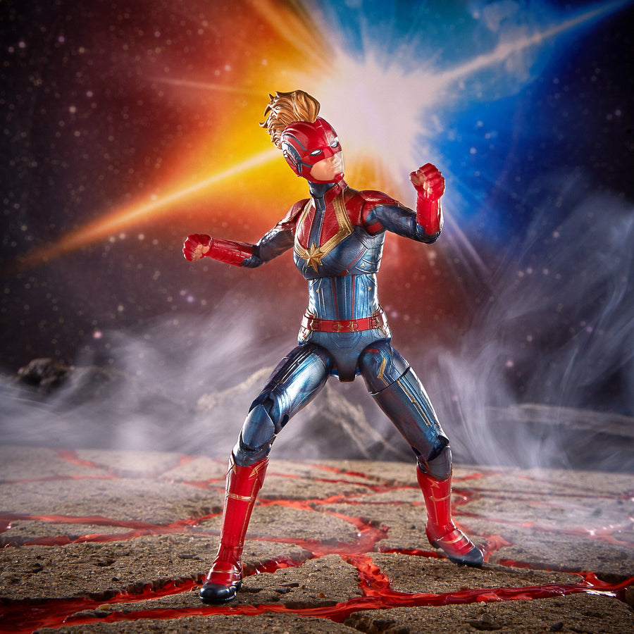 Marvel Legends Series Captain Marvel in Costume Figure in Backdrop