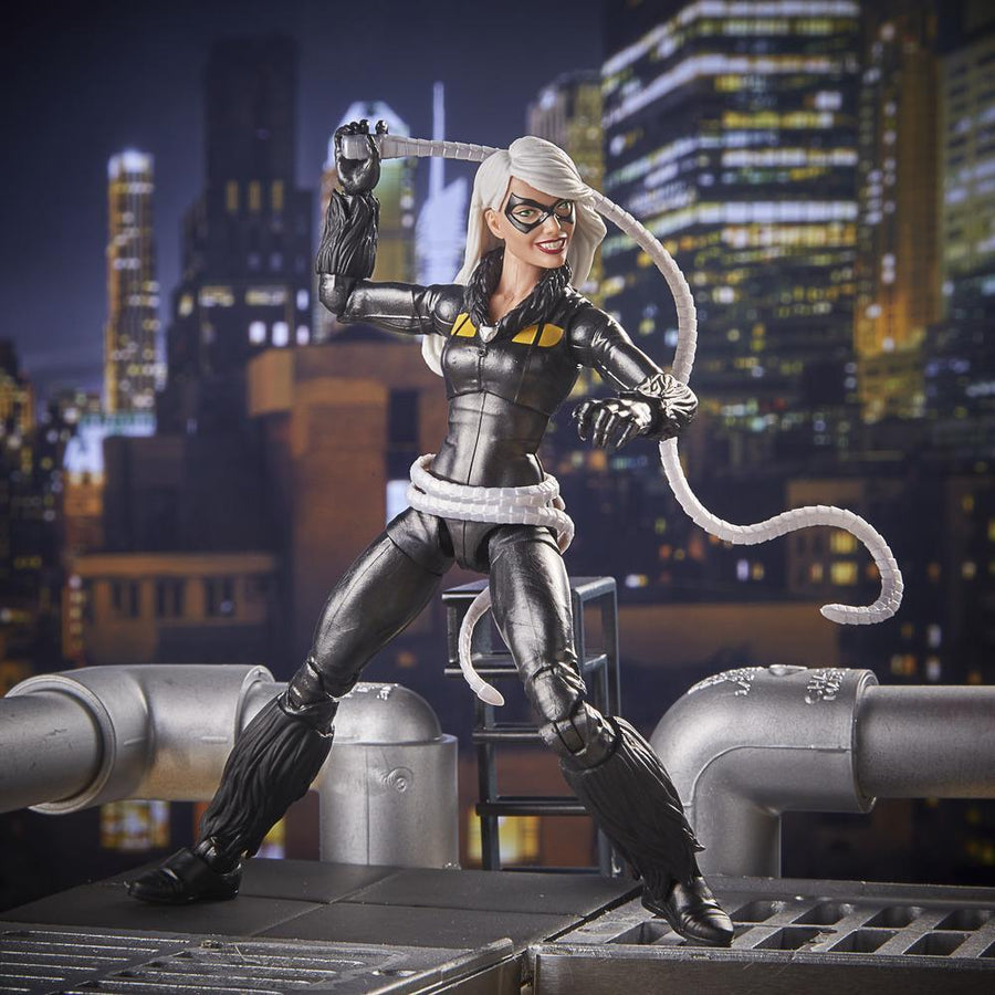 Spider-Man Marvel Legends Series Black Cat Figure in Backdrop