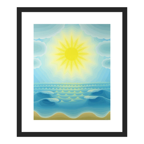 Blue Seascape with Radiant Sun