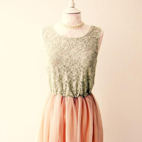 Mint Green Peach Pink Lace Dress