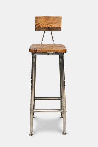 'Bapoto' industrial wood and iron bar stool with back rest