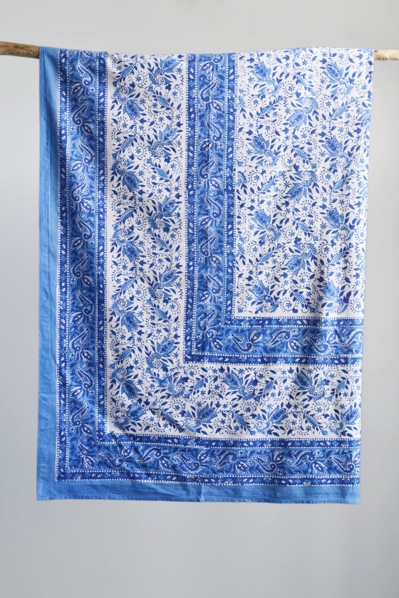 Block printed cotton throw: blue and white - Throws and Quilts - Decorator's Notebook