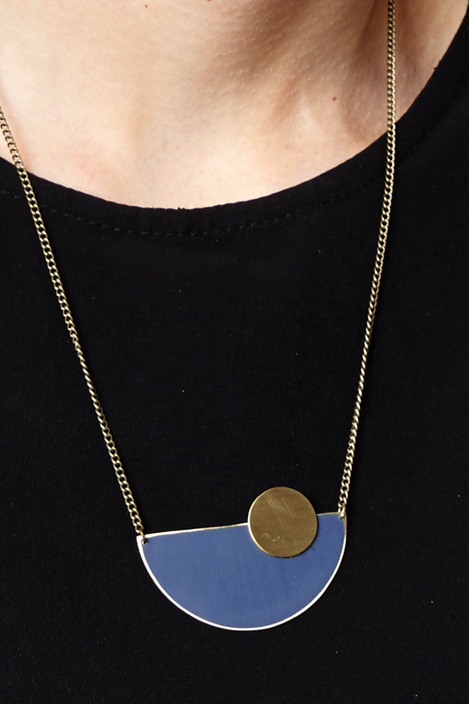 Moonrise blue semi-circle necklace