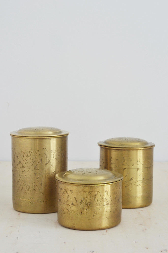 Brass lidded canisters (sold individually)