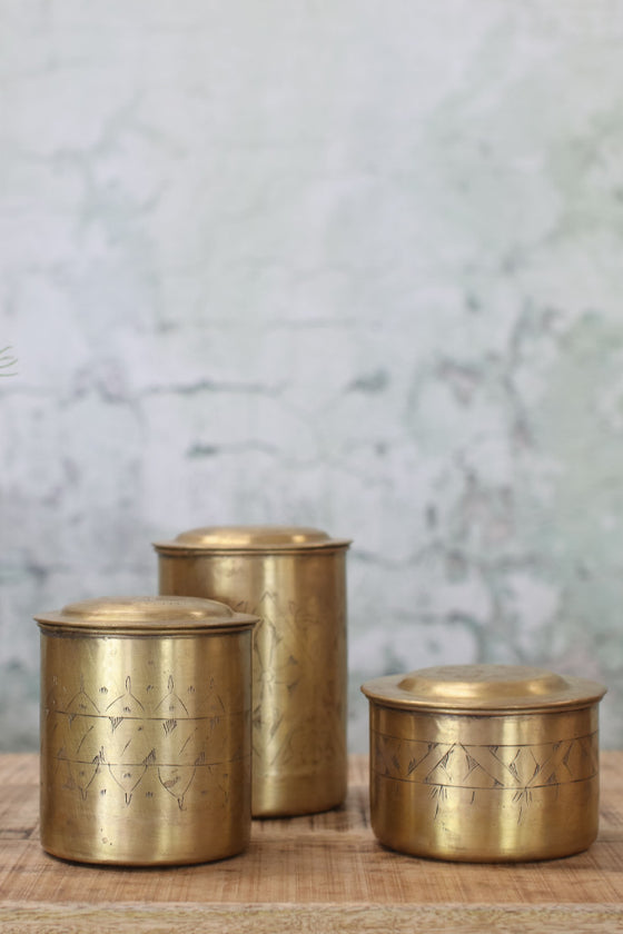 Brass lidded canisters (sold individually) - Décor and Vases - Decorator's Notebook