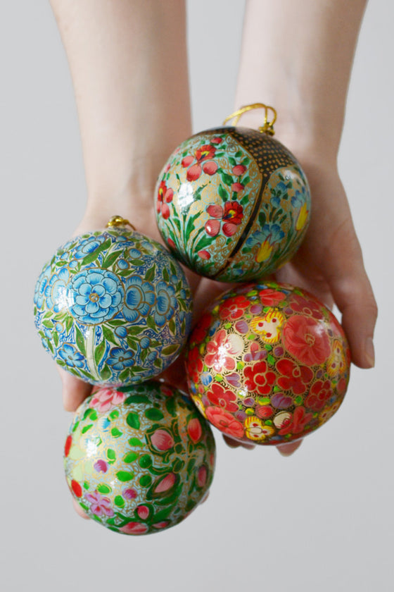 Four hand-painted baubles: Bright Floral