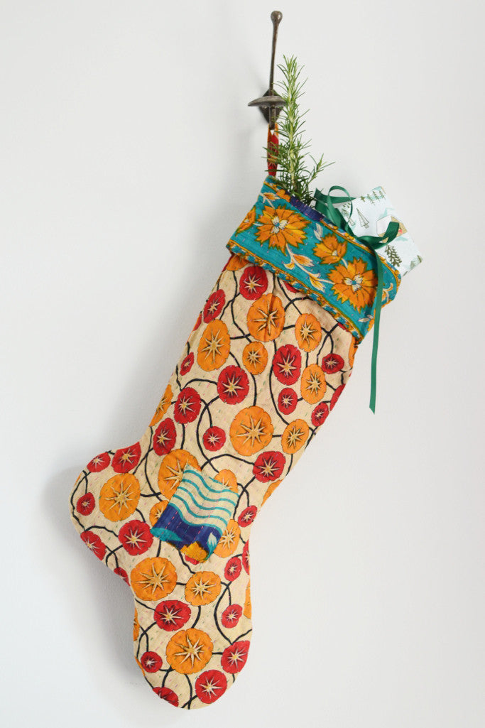 Recycled sari Christmas stocking - Christmas - Decorator's Notebook
