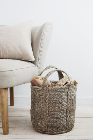 Small log basket: blue-grey hemp