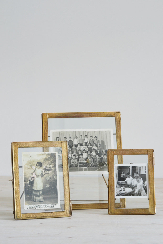 Brass double sided standing photo frame | Nkuku Azizi frames ...