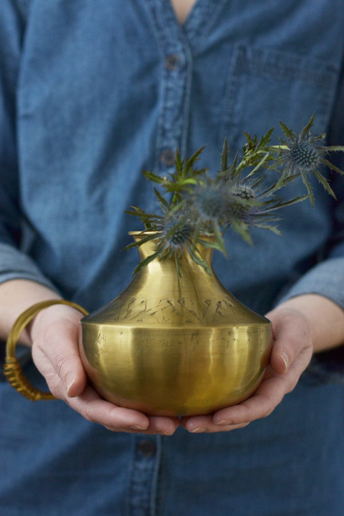 Small hand-etched brass vases (sold individually) - Décor and Vases - Decorator's Notebook