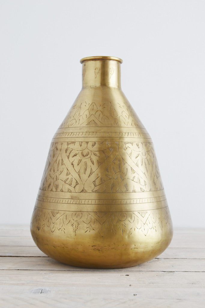 Hand-etched brass pot: tall - Décor and Vases - Decorator's Notebook