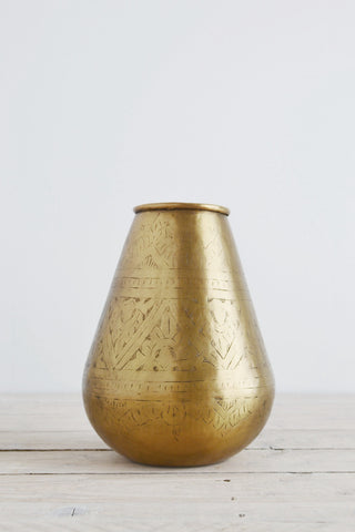 Hand-etched brass vase: tapered