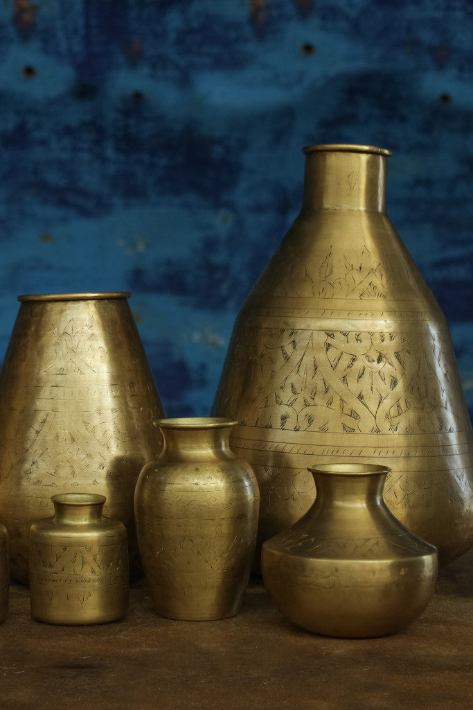 Small hand-etched brass vase