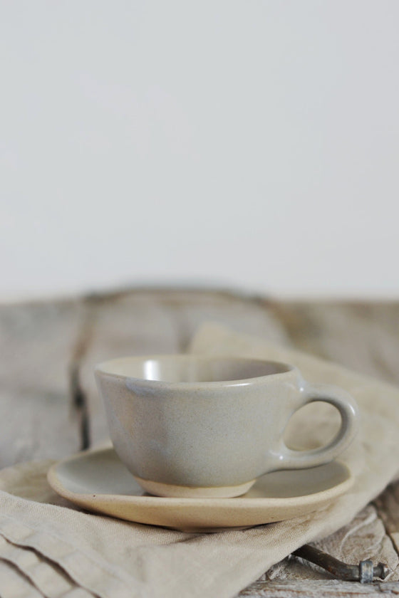 - Organic espresso cup and saucer: Mushroom - Kitchen and Tableware - Decorator's Notebook