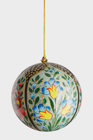 Four hand-painted baubles: Indian Floral