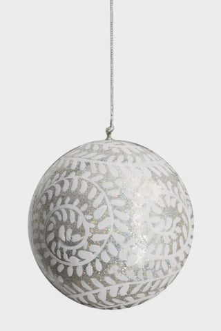 Four hand-painted baubles: Silver and White