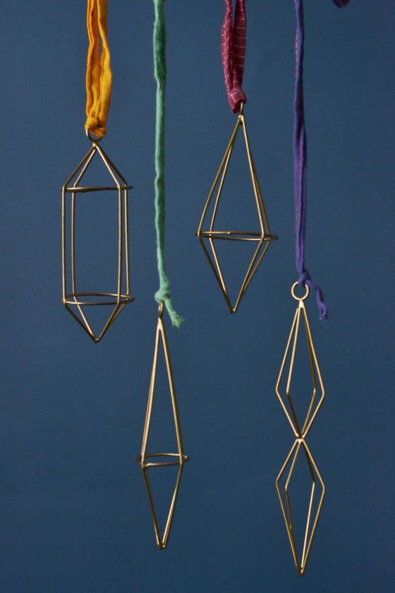 - Geometric brass wire decorations: set of four -  - Decorator's Notebook