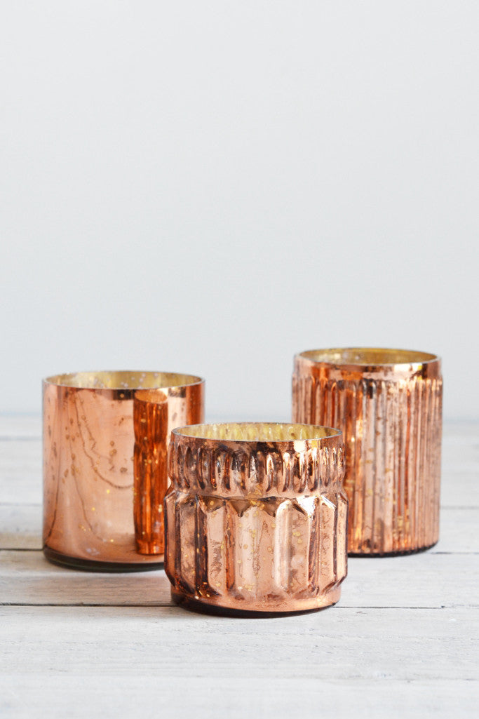 Copper glass tealight holders: set of three