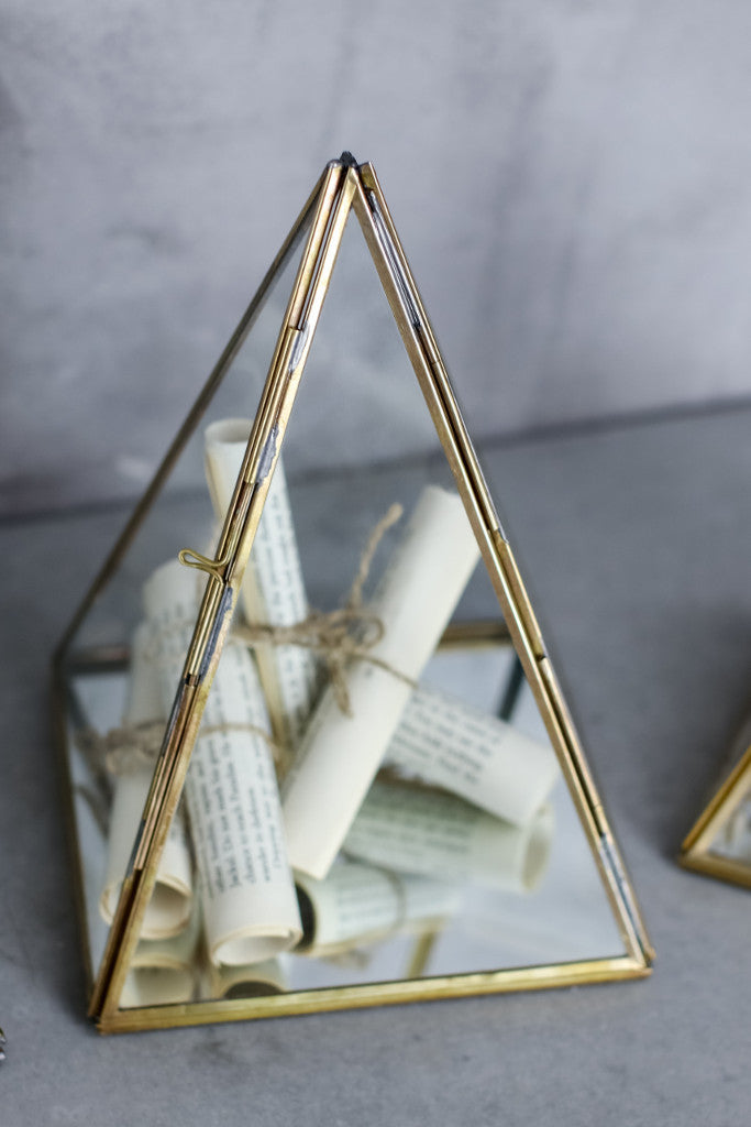 - Brass and glass display pyramid - Décor and Vases - Decorator's Notebook