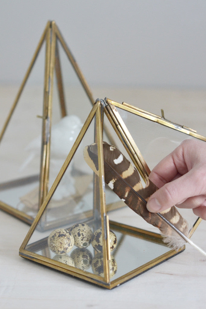 Brass and glass display pyramid