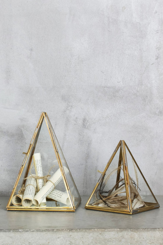 Brass and glass display pyramid - Décor and Vases - Decorator's Notebook