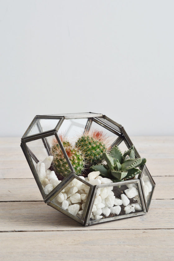 Zinc terrarium / candle holder: square - Décor and Vases - Decorator's Notebook