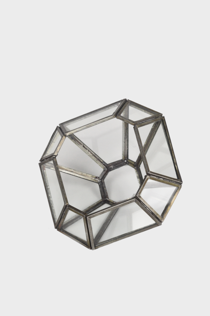 - Zinc terrarium / candle holder: square - Décor and Vases - Decorator's Notebook