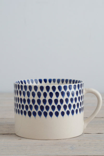 Handpainted Mug Blue And White Drop Design Decorator 39 S Notebook