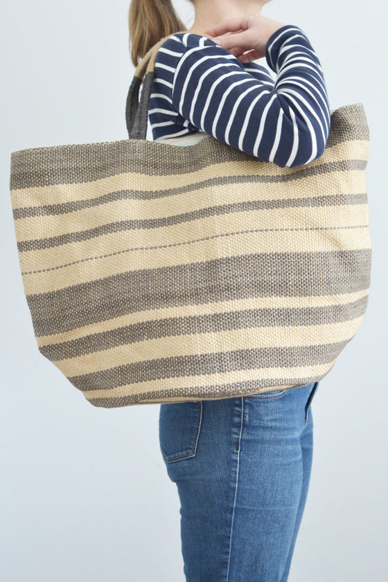 Jute bag: Grey multistripe