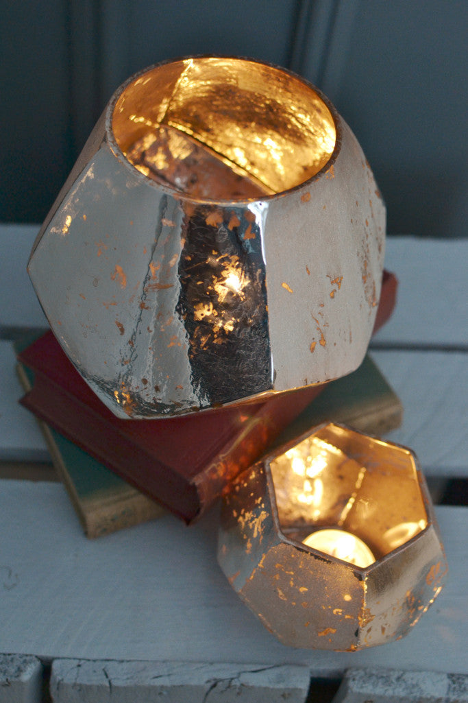 Silver hexagon candle holder - large - Christmas - Decorator's Notebook