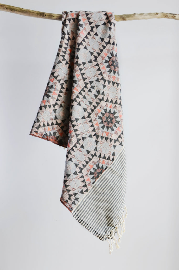 Honeycomb throw: warm grey - Throws and Quilts - Decorator's Notebook