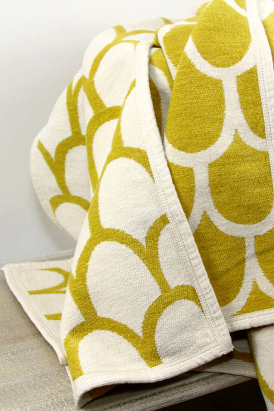 Organic Cotton Throw, Yellow Feathers
