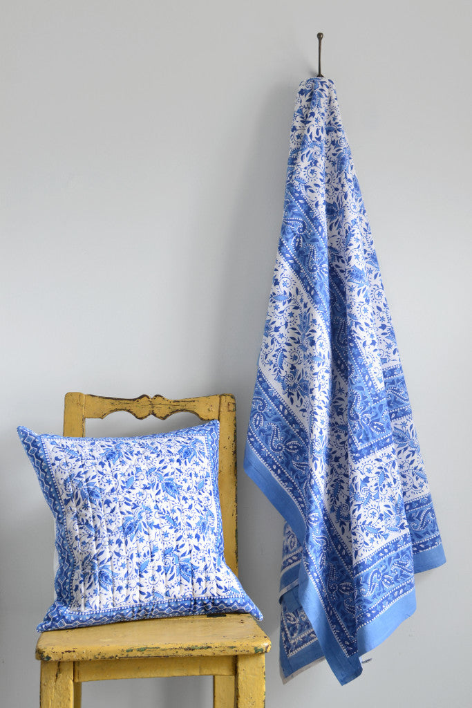 Block printed cotton cushion: blue and white - Cushions - Decorator's Notebook