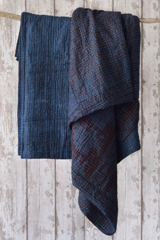 Indigo dyed kantha quilt - Throws and Quilts - Decorator's Notebook
