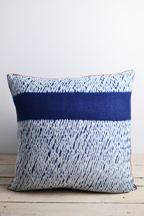 Indigo Shibori Cushion: Horizon - Cushions - Decorator's Notebook