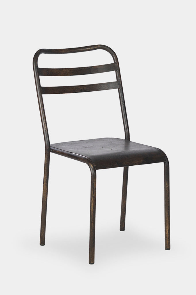 'Leta' stacking industrial dining chair: iron