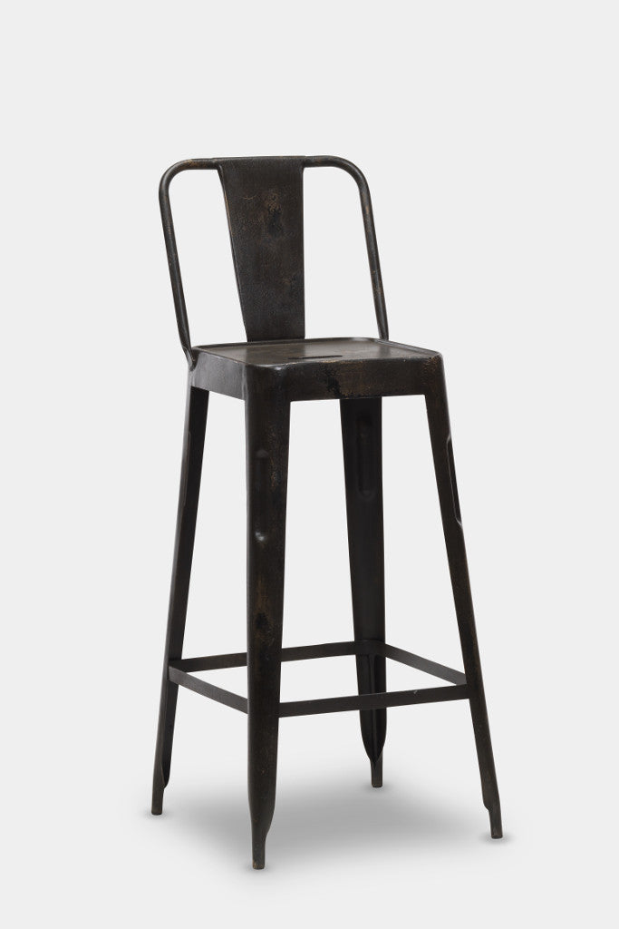 'Chari' industrial Tolix style metal bar chair