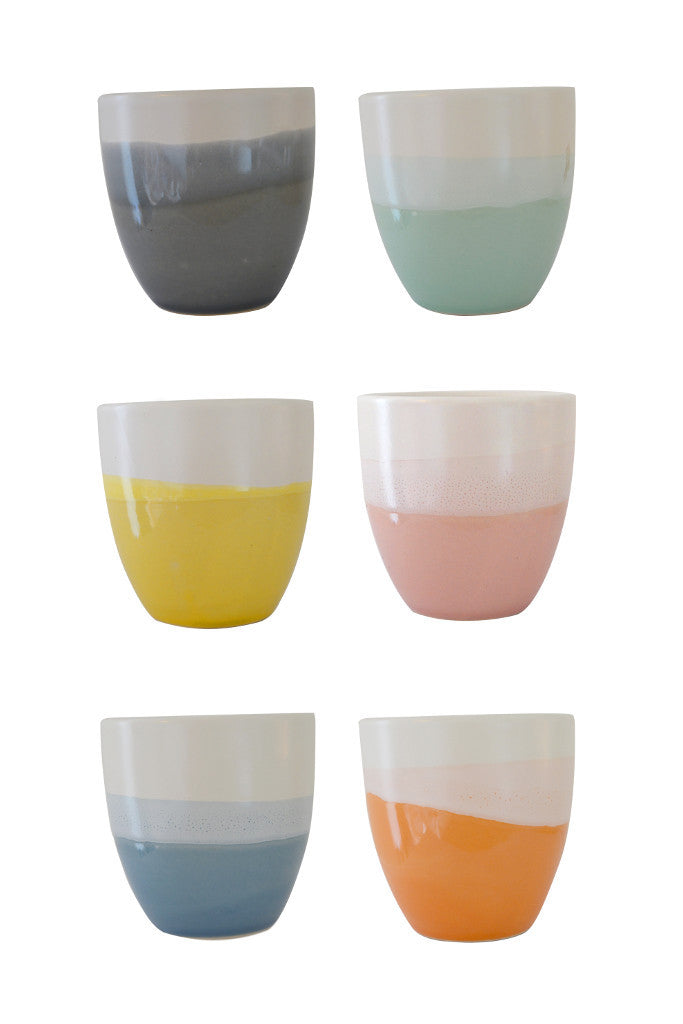 Ombre Japanese teacups: set of six